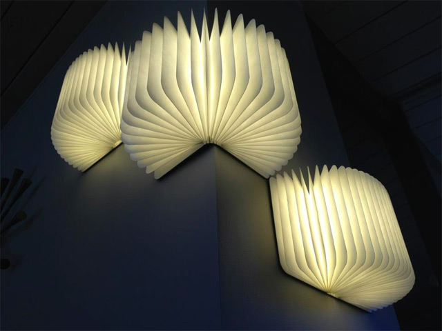 Architect Max Gunawan designed this portable light that folds up into a book and becomes illuminated when opened. The light is magnetic so that it can be mounted on several different types of surfaces and remains charged for up to 8 hours. (via Juxtapoz Magazine)